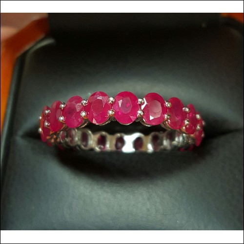 Sold 5.555Ct Red Ruby Oval Eternity Band Platinum by Jelladian