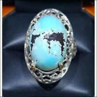 """Copper Rich Ground Water"". Turquoise with natural Marking"