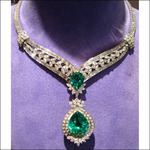 Sold 91.77Ct Emerald and Diamond Necklace 18k Gia