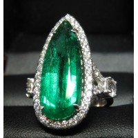 Sold Gia 6.24Ct F1 Emerald & Diamond Ring by Daniel Arthur Jelladian $20,000-$22,000