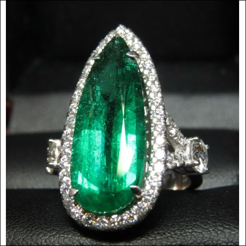 Sold Gia 6.24Ct F1 Emerald & Diamond Ring by Daniel Arthur Jelladian $23,000