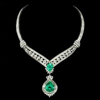 Sold 91.77Ct Colombian Emerald & Diamond Necklace 18k Gia F1 & F2 Shown on Good Morning America