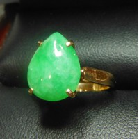 $300-$500 ESTATE 2.08CT JADE PEAR SHAPE RING 18K $1NR