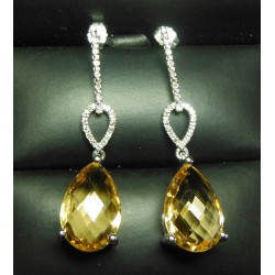 12.25CT CITRINE & DIAMOND LONG CHANDELIER EARRINGS 14KWG