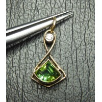 $200-$400 GREEN TOURMALINE & DIAMOND PENDANT 14K $1NR