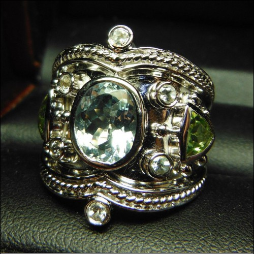 WIDE 4.00CT AQUAMARINE & PERIDOT RIGHT HAND RING STERLING $1NR