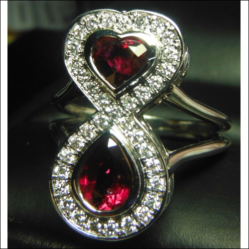 Sold 2.40Ctw Ruby & Diamond Love Infinity Ring 18kwg by Jelladian