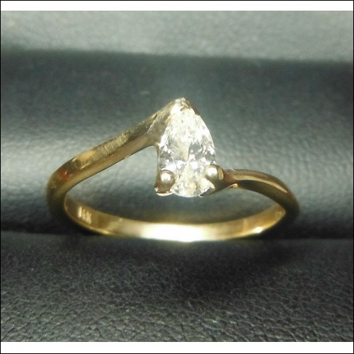 .30CT PEAR SHAPE DIAMOND SOLITAIRE 14K $1NR