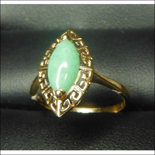 .80CT MINT GREEN JADE MARQUISE GREEK KEY RING 14K $1NR