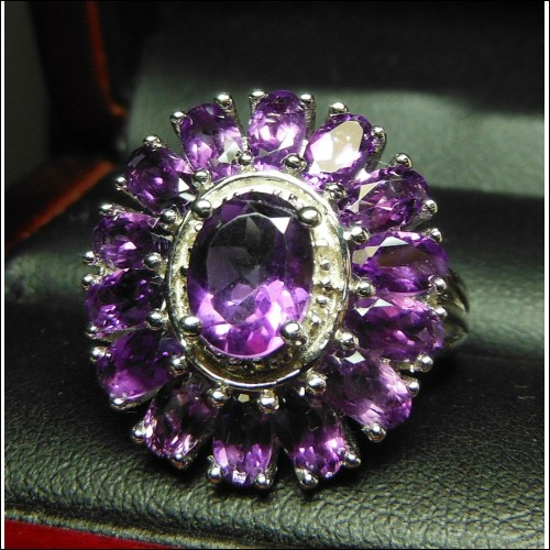 4.00CT BRIGHT AMETHYST & DIAMOND COCKTAIL RING STERLING $1NR FEBRUARY BIRTHSTONE