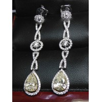 $40,000 3.33CT LIGHT YELLOW PEAR DIAMOND CHANDELIER EARRINGS 14KWG