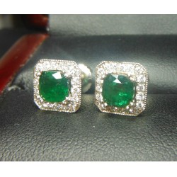 Sold 1.43Ct Emerald & Diamond Earrings 18kwg By Daniel Arthur Jelladian $2,500