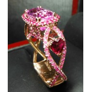 Sold Gia 8.12Ct Center No Heat Purplish Pink Sapphire, Ruby & Diamond Ring 18k by Jelladian