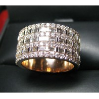 Sold 7 Row Baguette & Round Diamond Wide Band 18k Rose Gold $3,500-$4000