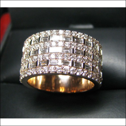 Made to order 30 days 7 Row Baguette & Round Diamond Wide Band 18k Rose Gold $3,500