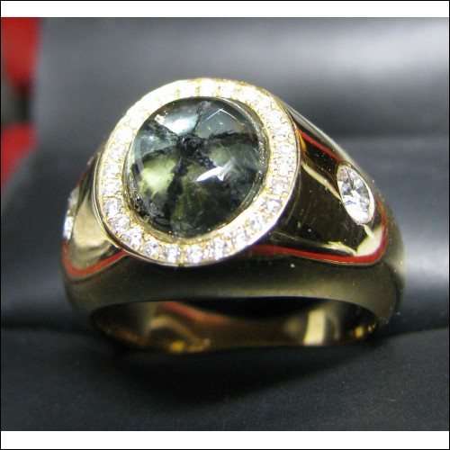 Sold Trapiche Emerald and Diamond Ring 18k Gold by Jelladian