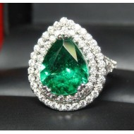 Sold Gia 3.37Ct Emerald & 2 Row Diamond Ring Platinum by Daniel Arthur Jelladian