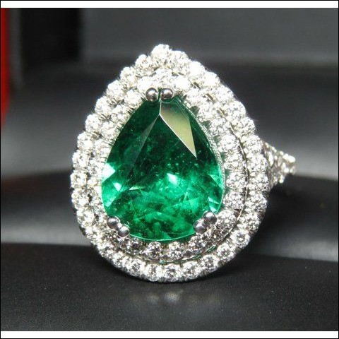 Sold Gia 3.37Ct Emerald & 2 Row Diamond Ring Platinum by Jelladian