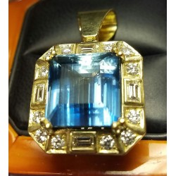 Sold 21.72Ct Gia Gemmy Blue Aquamarine & Diamond Pendant by Jelladian
