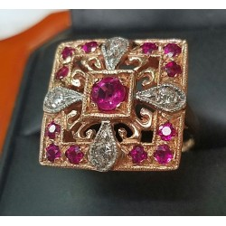 $5,000 Estate 2.00Ct Ruby & Diamond Ring 14k Rose Gold