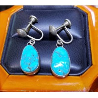 Estate Turquoise Earrings Sterling Silver