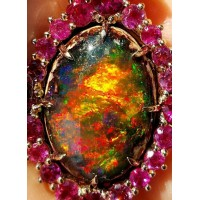 """Sold"" Amazing Colors Gia 18.88Ct Opal on matrix 18k Rose Gold- By Daniel Arthur Jelladian"