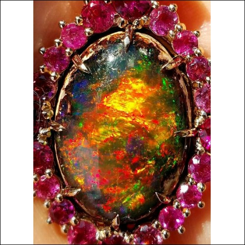 """Sold"" Amazing Color Fire 18.88Ct Opal on matrix Gia Certified 18k Rose Gold- By Daniel Arthur Jelladian"