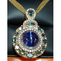Sold 1 of a Kind Gia Cat's Eye Tanzanite & Alexandrite & Diamond Pendant By Daniel Arthur Jelladian