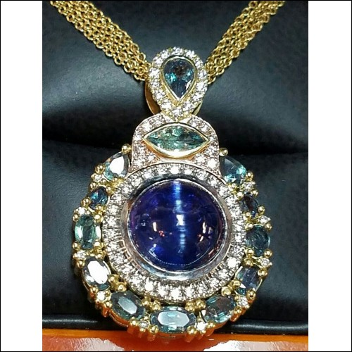 Sold Gia Cat's Eye Tanzanite & Alexandrite & Diamond Pendant by Jelladian