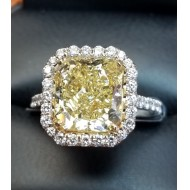 $100,000 Reserve 6.13Ct Fancy Intense Yellow Vvs2 & White Diamond Ring Gia Certified 18k