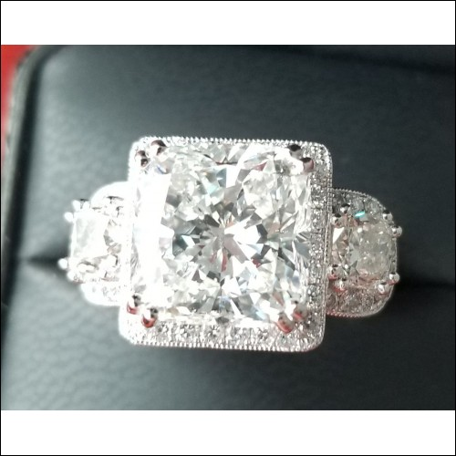 Sold Diamond Wedding Ring Mounting in Platinum $3,500 without Center and 2 Side Diamonds By Daniel Arthur Jelladian