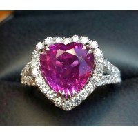 Sold 5.01Ct No Heat Ruby Heart Shape and Diamond Ring Platinum By Jelladian