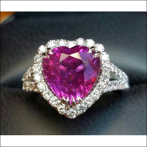 Sold 5.01Ct No Heat Ruby Heart Shape and Diamond Ring Platinum