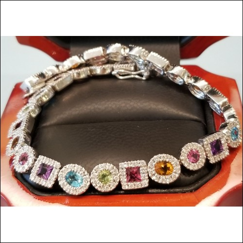 12Ct Color Gem & Diamond Tennis Bracelet 18k White Gold