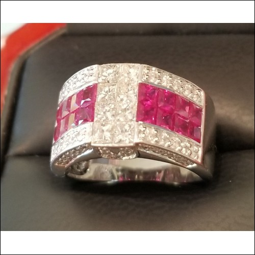 3.00Ct Ruby & Princess Cut Diamond Band 14k White Gold