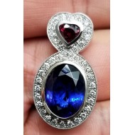 Sold 11.41Ct Tanzanite Ruby and Diamond Pendant 18kwg By Daniel Arthur Jelladian