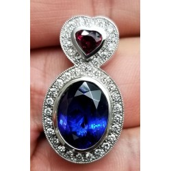 Sold 11.41Ct Tanzanite Ruby and Diamond Pendant 18kwg