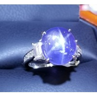 $30,000 11.68Ct Cornflower Blue Star Sapphire & Diamond Ring Platinum $4,500