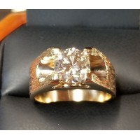 $7,500 2.27ct Round Brilliant Diamond Solitaire Mans Ring 14k Gold Out of Pawnshop