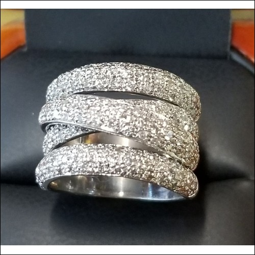 $2,500 Estate 2.00Ct Pave Diamond Wide Band 14k White Gold