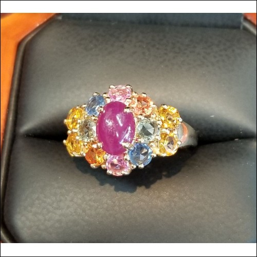 $1,750 Estate 2.50Ct Ruby & Rainbow Sapphire Ring 14k Gold