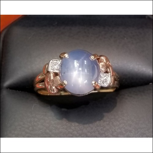 $1,000 Estate 5.10Ct Light Blue Star Sapphire & Diamond Ring 14k