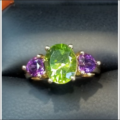 $700 Estate 4.50Ct Oval Peridot & Amethyst Heart Ring 14k