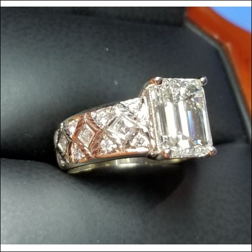 French Cut Square Carre Quilted Setting for 3Ct Emerald cut Diamond by Daniel Arthur Jelladian