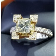 $4,500-$5,500 2.40Ct Natural Yellow Diamond Vs1 Rose & Yellow& White 18k Gold Reserve $3,500