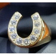 $1,500-$2,000 1.00Ct Diamond Man's Horseshoe Ring 14k Gold Reserve $1,000