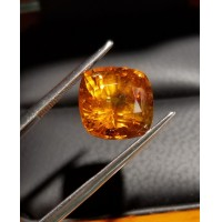 6.68Ct Gor Orange Sapphire Cushion Cut Gia Certified