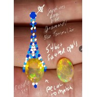 8.46Ct Faceted Opal, Diamond, Sapphire & Blue Tourmaline Chandelier Earrings 18kwg by Daniel Arthur Jelladian $4,500