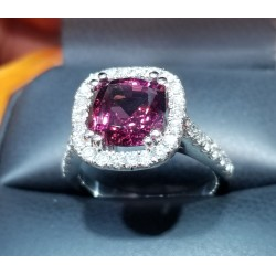 4.91Ct Purplish Red Garnet & Diamond Ring 14k White Gold January Birthstone