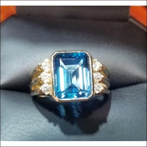 3.30Ct Swiss Blue Topaz Emerald Cut & Diamond Ring 14k Yellow Gold
